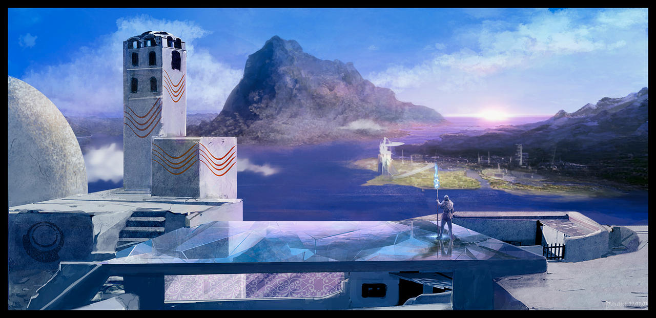 Grecofuturist landscape by biotechbob