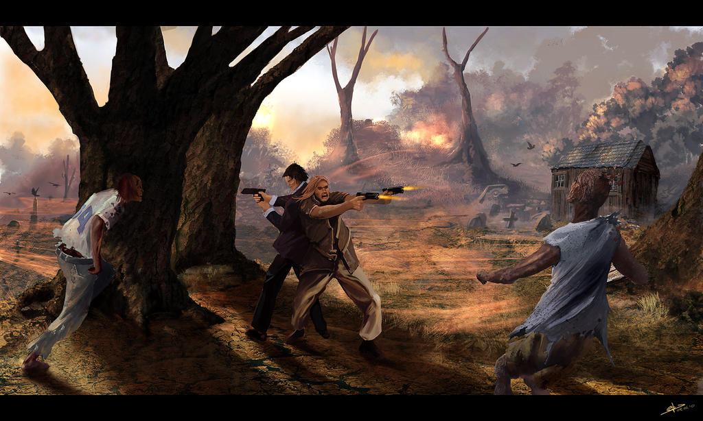 Hunting Zombies by biotechbob 45 Awesome Apocalyptic Zombie Artworks
