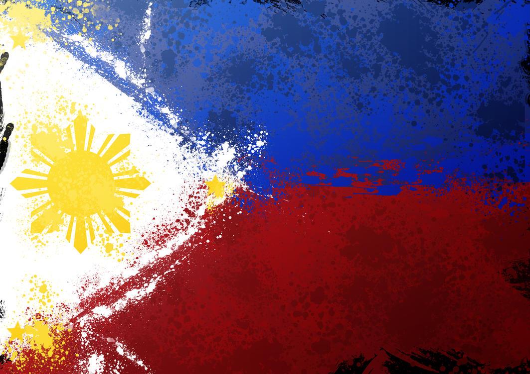 Philippine Flag Splatter By Schizophrenique