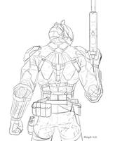 Arkham Knight Sketch By Megs Ils for me by Nevillemadan007