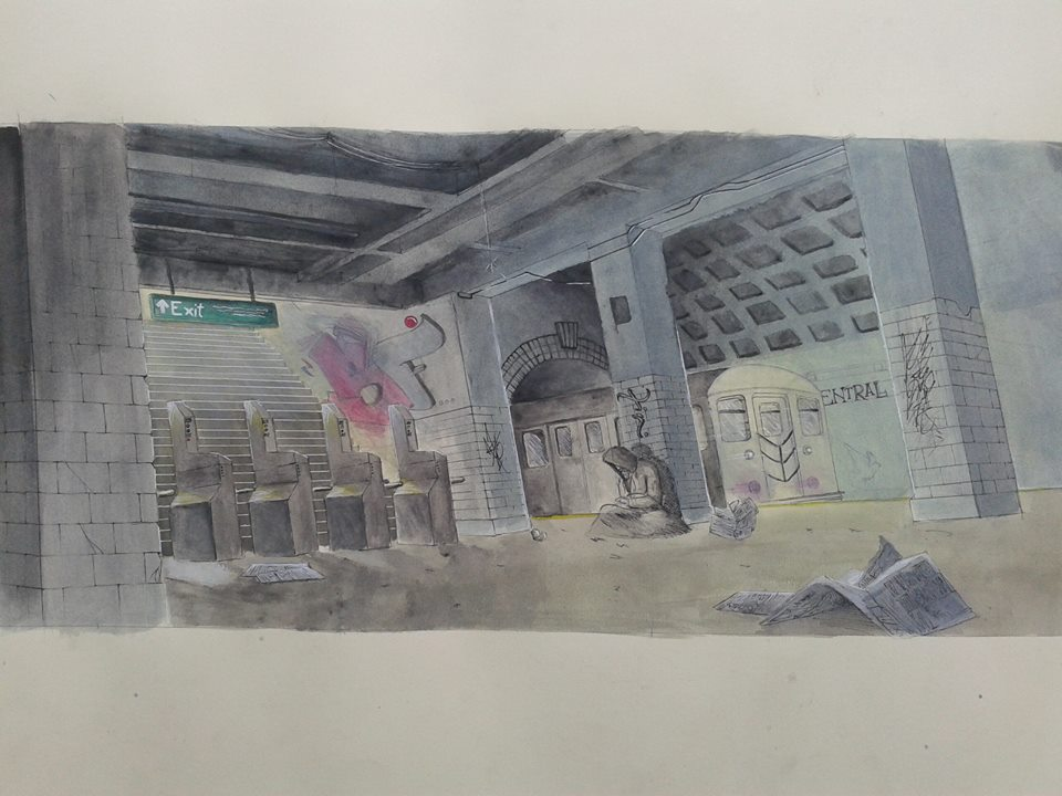Watercolor train station by Treaba