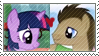 TwilightxDr. Whooves Stamp by inkypaws-productions