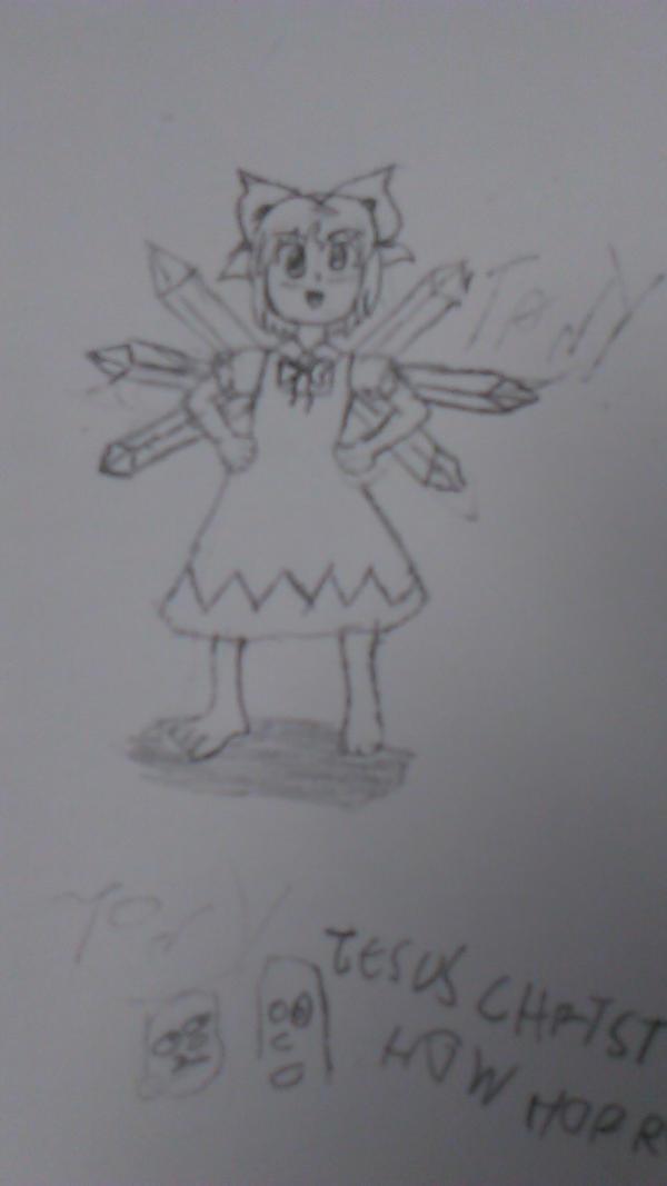 A terribly drawn Cirno