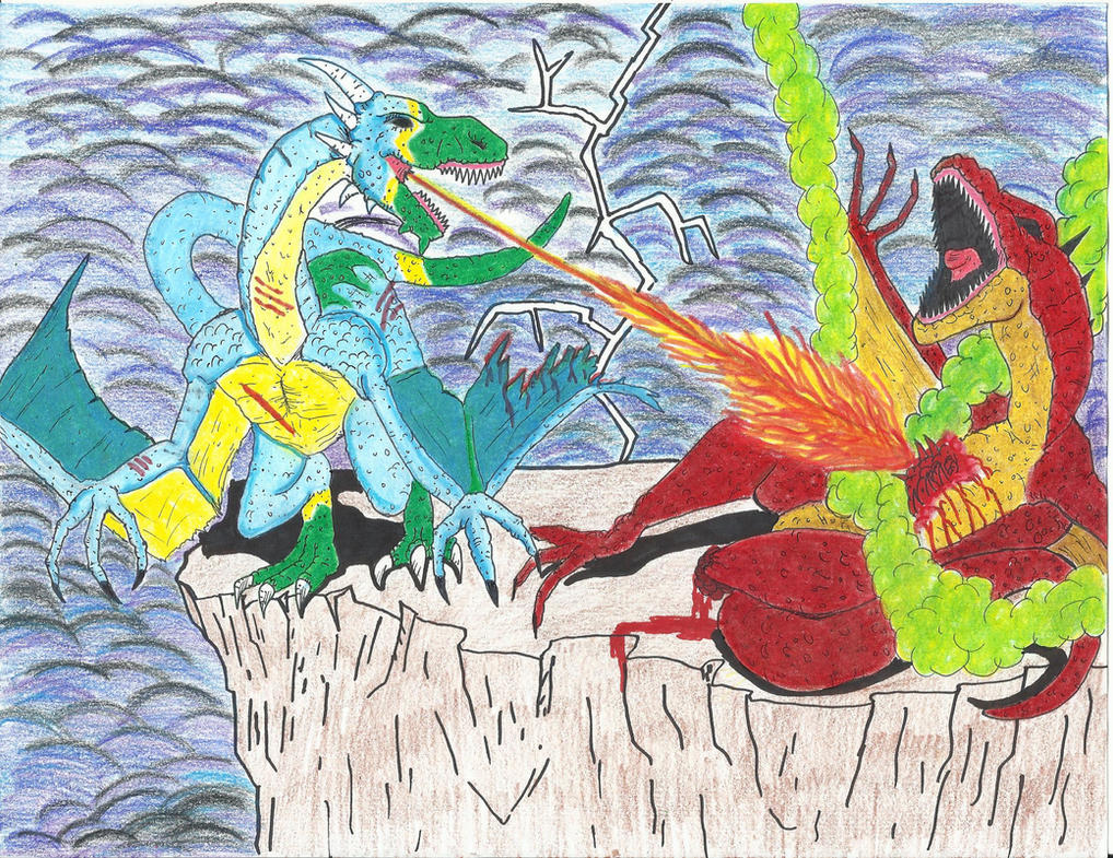 Cliff Side Dragon Battle by JeffreyTrudeau