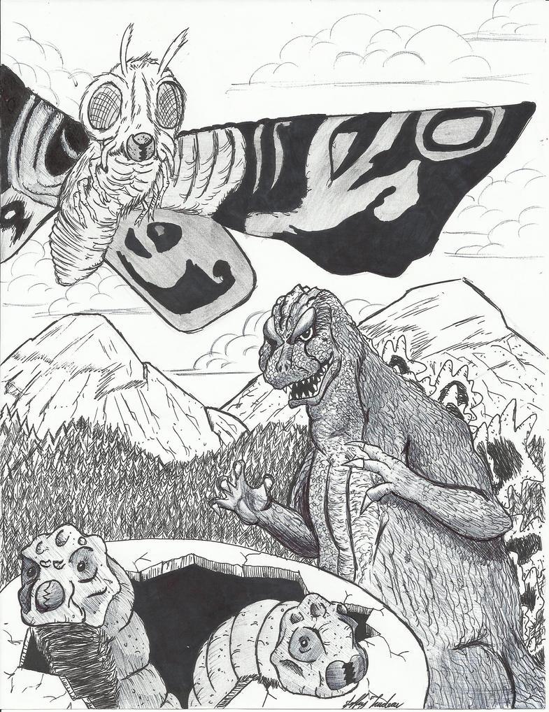 Godzilla Vs Mothra by JeffreyTrudeau