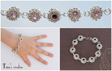 Chain Mail Bracelet with Glass Beads by Taisa-Winged