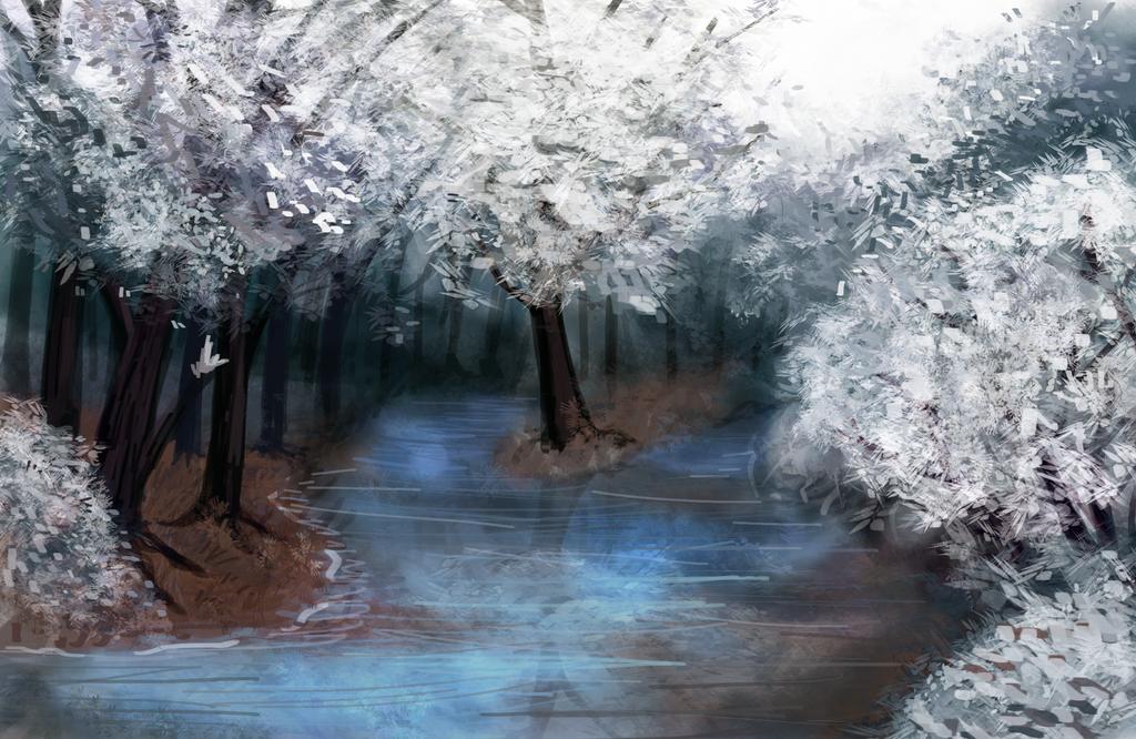 Snowy Scene by CyndersAlmondEyes
