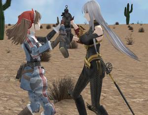 One V one duel in the desert