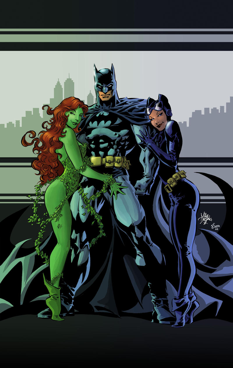 Poison, Batman and Catwoman by rainerpetterart on DeviantArt