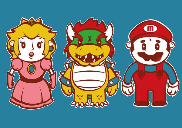 Chibi Mushroom Kingdom T-shirt Design by alsnow