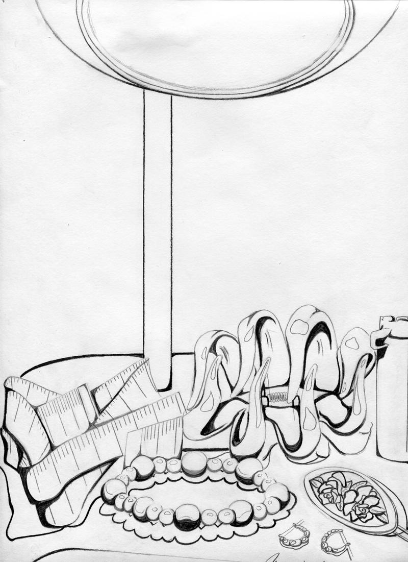 Contour Line Drawing Of Still Life : Contour line still life by frogmastr on deviantart