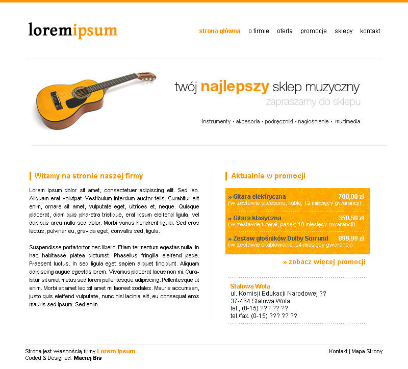 New project - for music shop