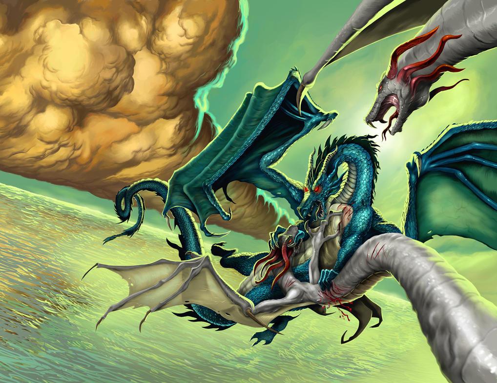 Dragon battle by Sepiawolf