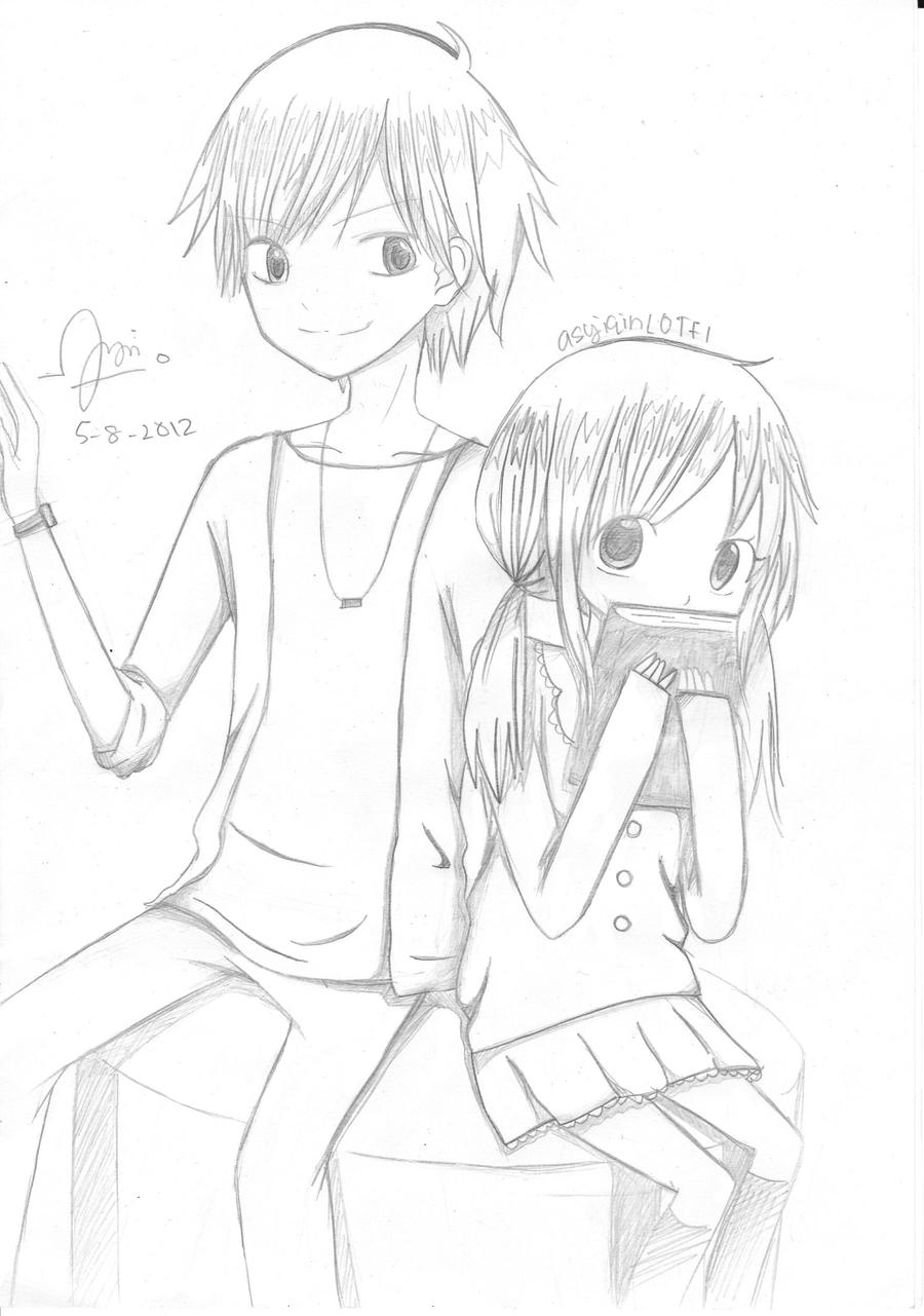 Anime couple hugging drawings in pencil mit hillel