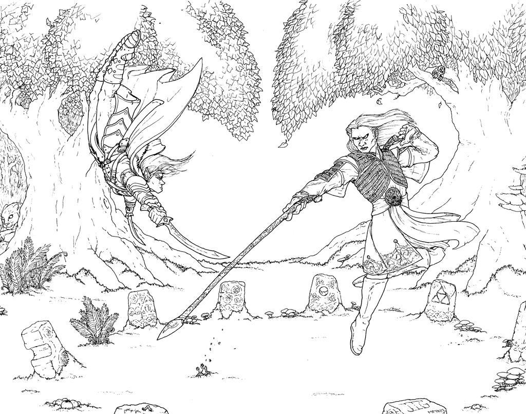Drizzt vs. Nuada Line-art by J-Ian-Gordon
