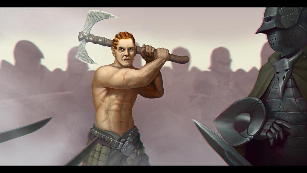 Half Elf Barbarian commission