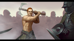 Half Elf Barbarian commission by ackelb