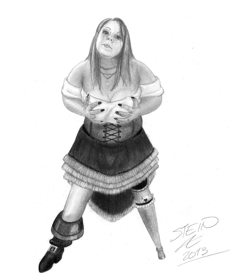 The peglegged bargirl by superhulken