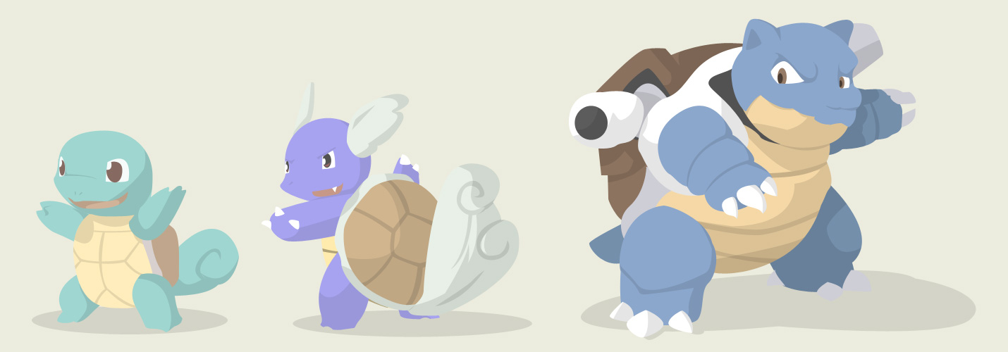 Squirtle+Wartortle+Blastoise by 42productions on DeviantArt