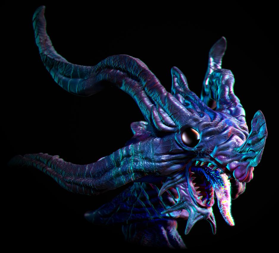 Creature bust render 1 by Arakareeis