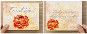 Example of Orange Peony as a Thank you card.