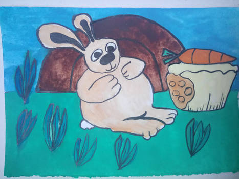 fat bunny with carrot cake