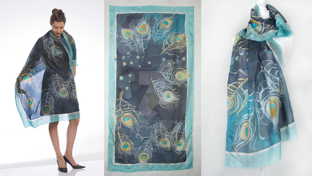 Navy Blue silk shawl-Peacock feathers by pilemy