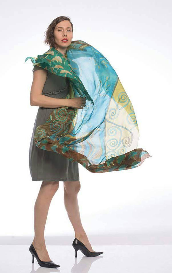 Hand painted silk shawl-The Mustard Ghost by pilemy