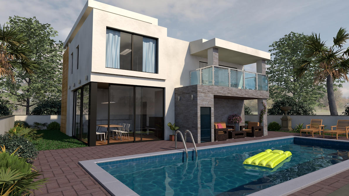 3d exterior modern house by sime242