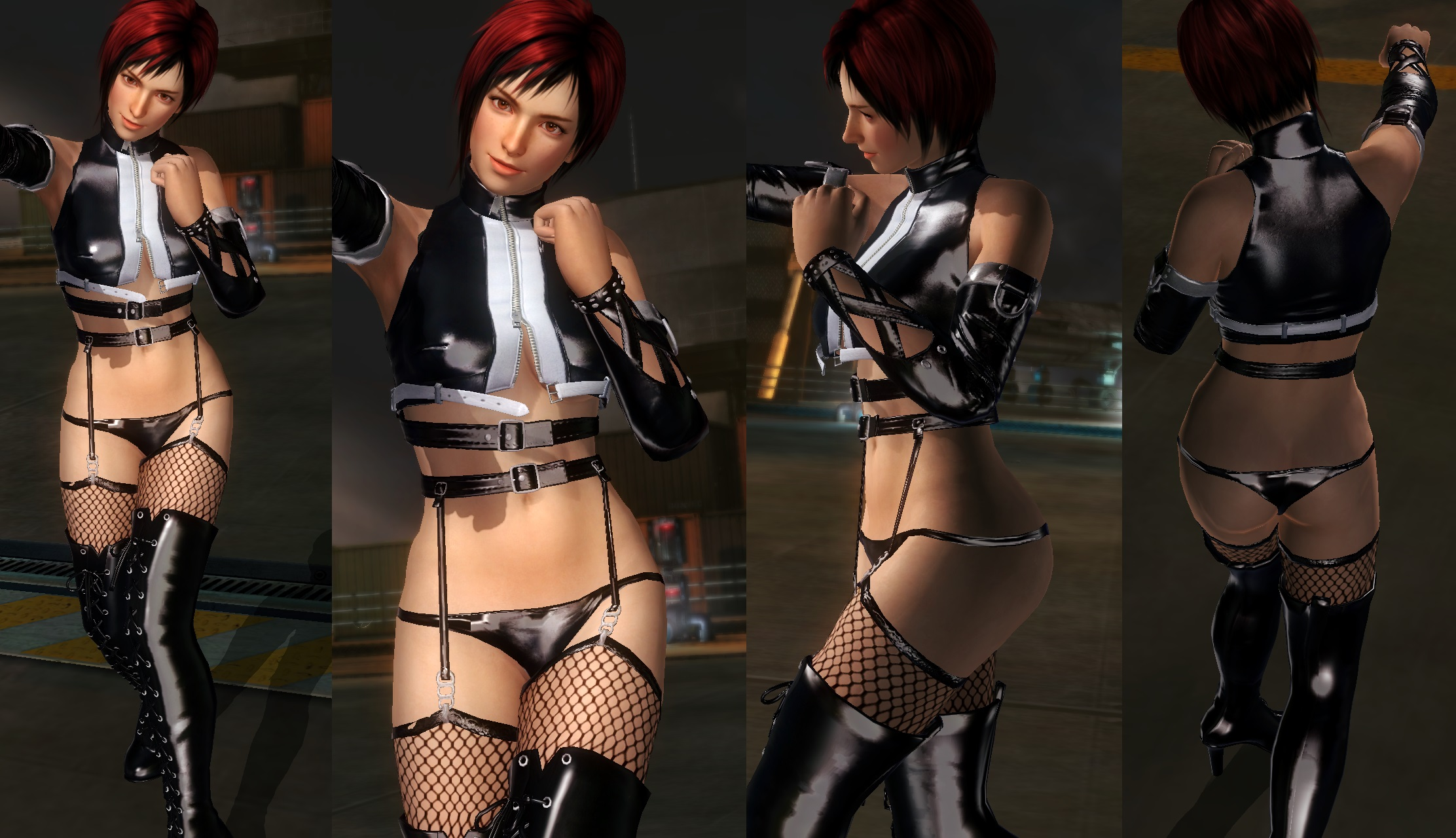 Mila shiny black thigh highs by funnybunny666