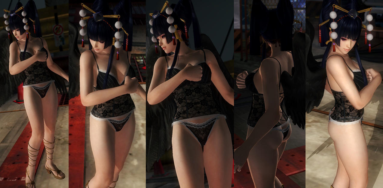 Nyotengu lace black underwear by funnybunny666