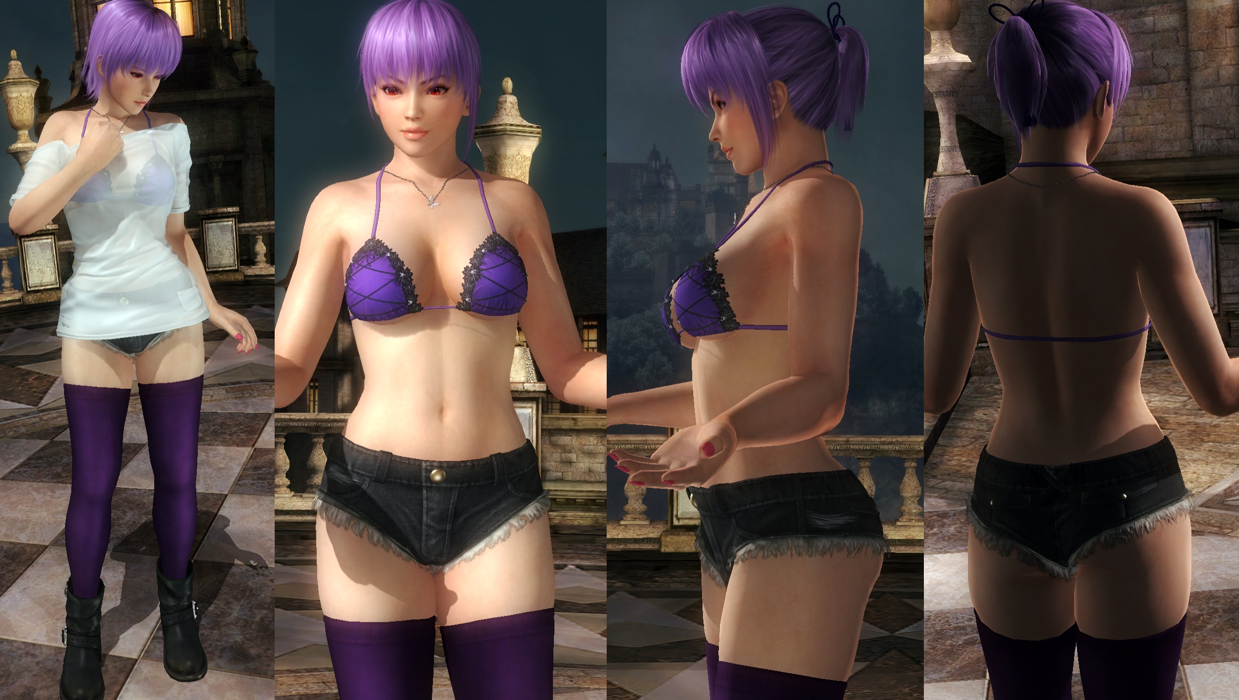 Ayane Shirt Denim Shorts by funnybunny666