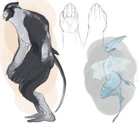 Fish people designs: Shark/ray + Jellyfish
