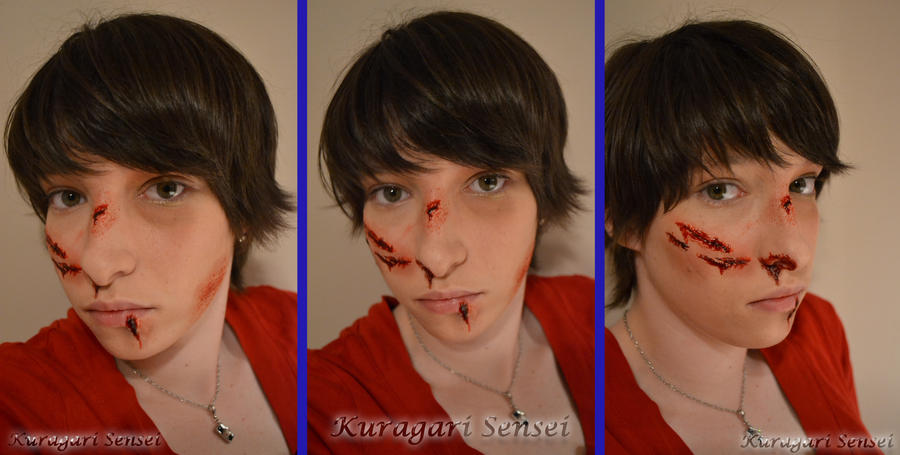 Makeup Test/Tutorial -Basic Wounds- by KuragariSensei