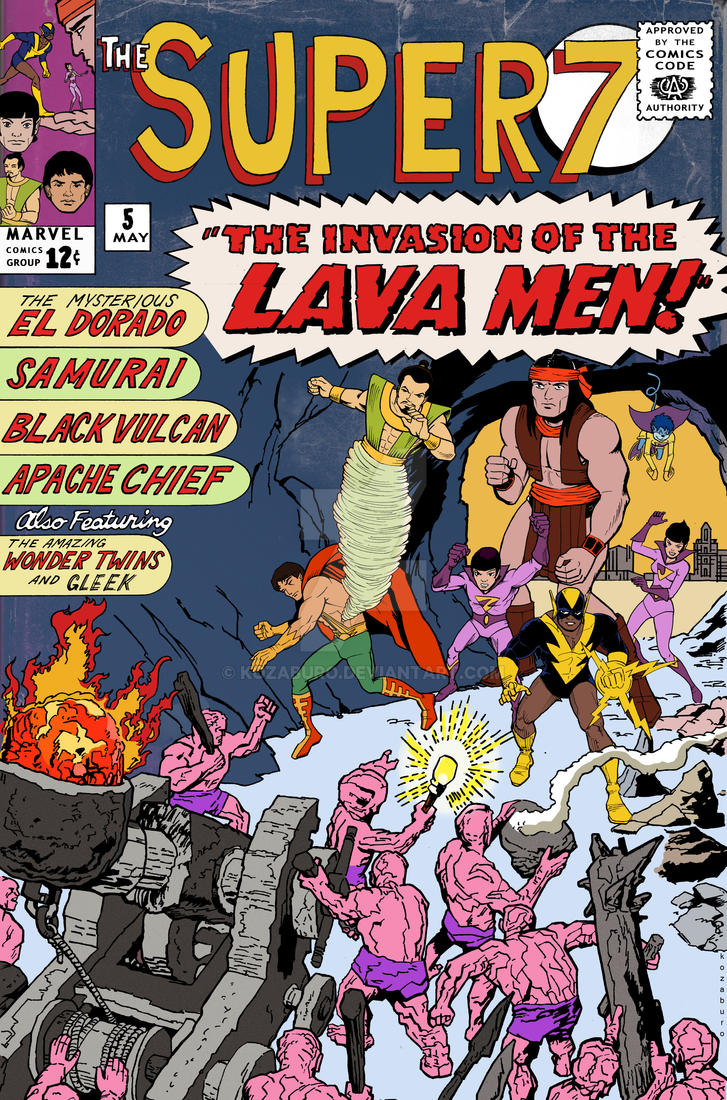 The Super 7 vs The Lava Men by Kozaburo