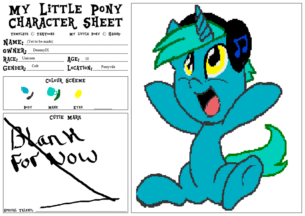 My Little Pony Character Sheet Template V1 1 B by Rawr-Means