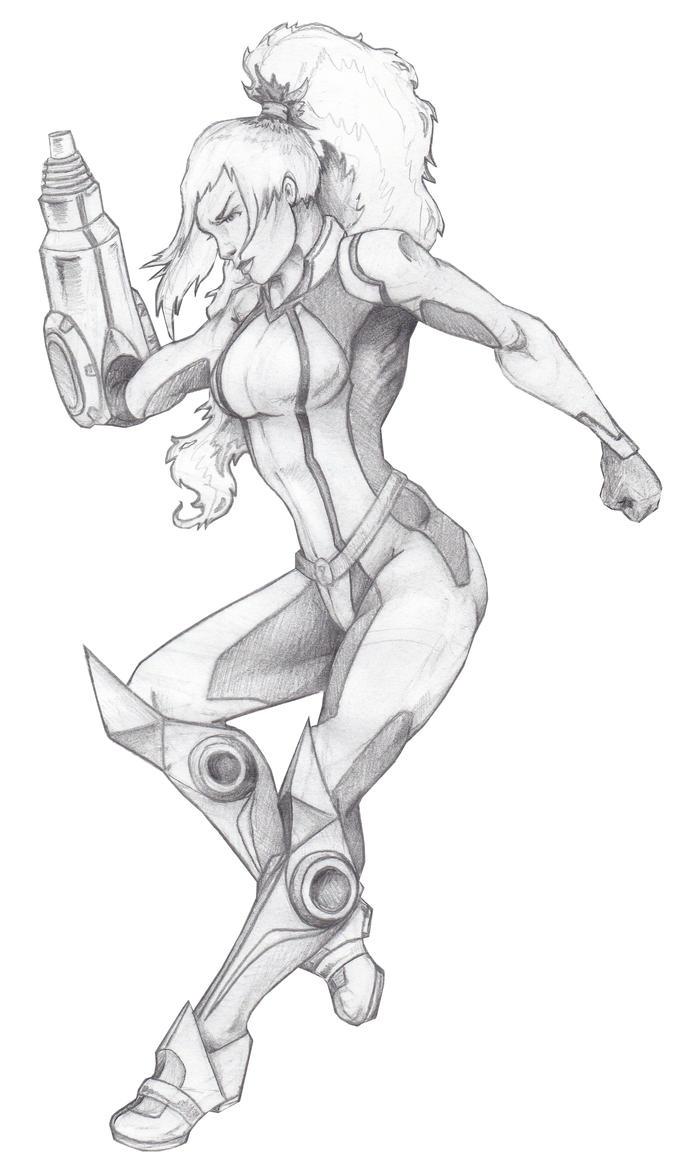 Zero-Suit Widow (pencil) by JSRPhoenix