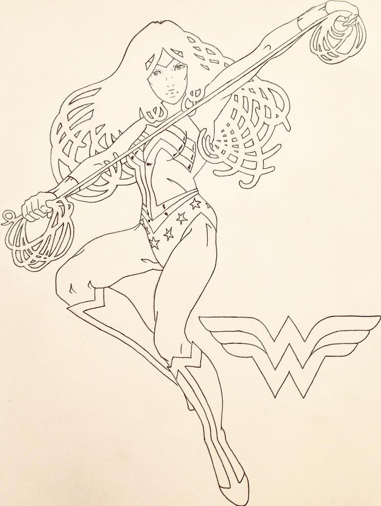 Wonder Woman (Lineart) by JSRPhoenix