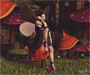 The Fairy and her Whimsical Mushroom Garden