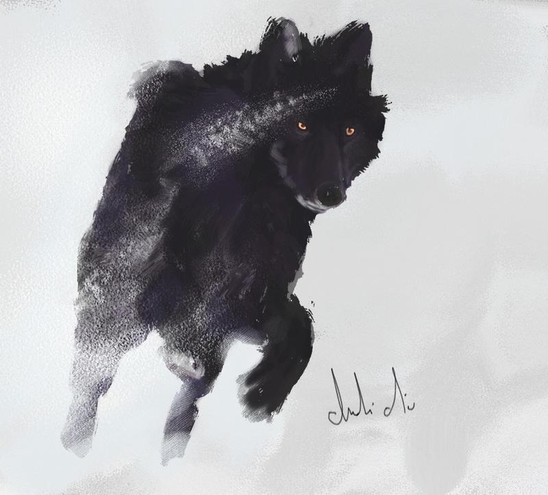 white wolf running through forest