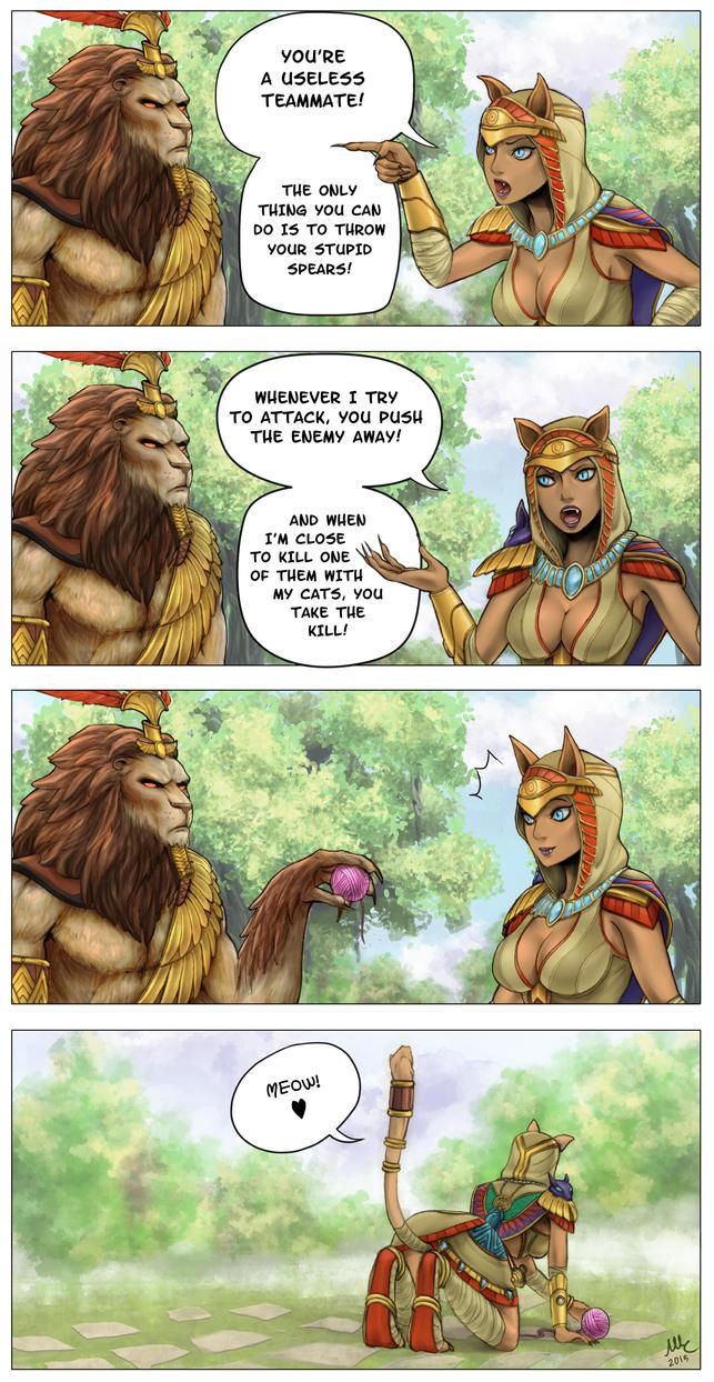 Meow! - SMITE comic by Sciamano240