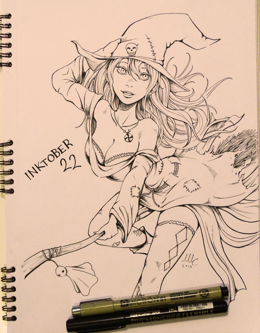 Cute Witch - Inktober 22 by Sciamano240