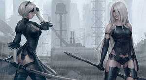 2B and A2 - Nier: Automata by Sciamano240