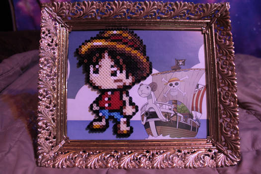 Luffy King of Pirates One Piece Perler Framed
