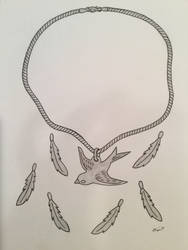 Bird Pendant with Feathers