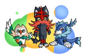 If The Alola Starters Were Digimons... by HaruByakko