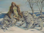 Woman and Snow Leopard white tiger