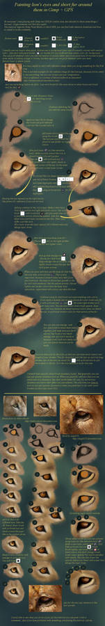 Painting lion's eye and fur...