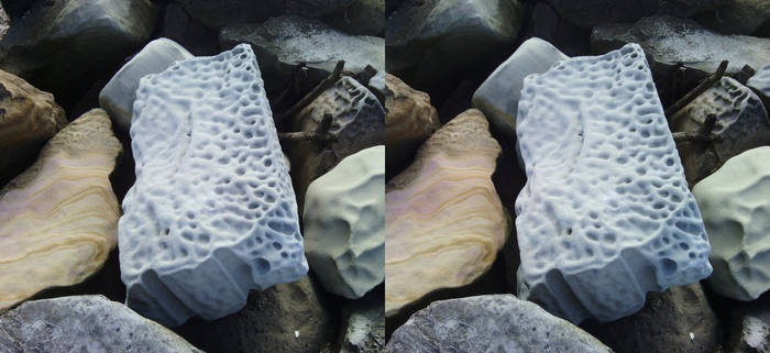 Gosford rocks (cross-eye 3D stereogram)
