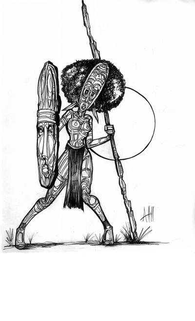 Female Tribal Warrior Sketch by ArmaniStyles